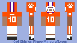 Clemson Tigers Football Uniform Minecraft Skin