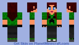 Girl With Creeper Shirt And Creeper Sox Minecraft Skin