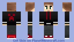 brunette guy in black creeper hoodie Minecraft Skin