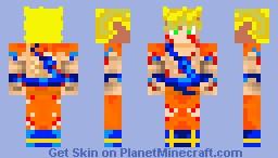 ssj1 battle damaged Goku skin Minecraft Skin