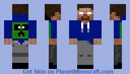 Herobrine Blue Hoodie Minecraft Skin