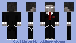 Herobrine lookin spiffy in a nice suit becuase he's so scary and cool Look at his tie its so cool i bet you wished u had it, And he has some cool chains too OHHH xD Minecraft Skin