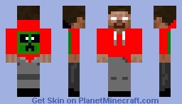 Herobrine in a Redhoodie Minecraft Skin