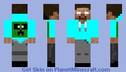 Herobrine in a TealHoodie Minecraft Skin