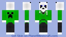 Green Hoodie Panda Minecraft Skin