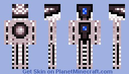 Redish Robot with Blue Camera Minecraft Skin