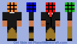 Rubiks Cube in a suit[3D parts] Minecraft Skin