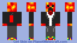Lava Creeper In A TNT Business Suit Minecraft Skin