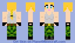 Pretty Soldier Girl with ponytail Minecraft Skin