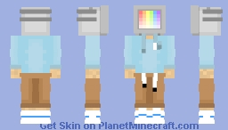 TV Head Skin Light blue edition Minecraft Skin