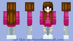Maroon Sweater Girl Minecraft Skin