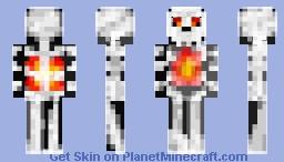 Ghost Skeleton Armor on Fire Minecraft Skin