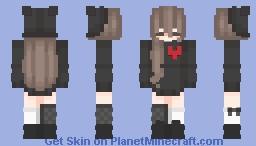 cute broken heart girl closed eyes Minecraft Skin