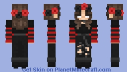 Brunette Girl with Red and Black Clothes Minecraft Skin