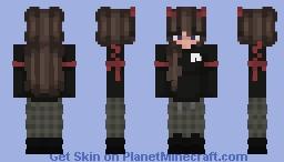 Black and Red Egirl Minecraft Skin