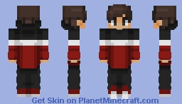 Chad in a black, white, and red hoodie Minecraft Skin