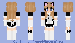 blonde maid with cat ears Minecraft Skin