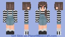 Stripped Overalls | 2/2 - Female Version Minecraft Skin