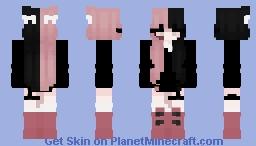 half pink egirl Minecraft Skin