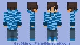 Chad in a light blue camo hoodie Minecraft Skin