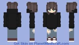Casual girl: black, short hair Minecraft Skin