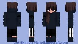 Blue Hoodie Egirl Minecraft Skin