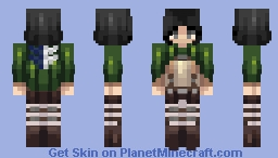 Mikasa Ackerman - Attack on Titan (survey corps) Minecraft Skin