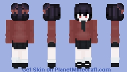 Red Kitsune School girl Minecraft Skin