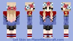 Charlee D in Crimson Kaiju's cheer uniform Minecraft Skin