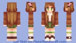 * . ~ animal-eared girl (chibi/sleepy version in desc.) ~ . * Minecraft Skin