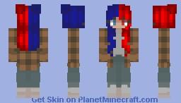 half blue - half red Minecraft Skin