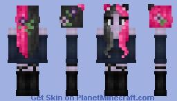Pink split dye cat girl Minecraft Skin