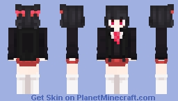 Japanese High School City Girl with red eyes Minecraft Skin