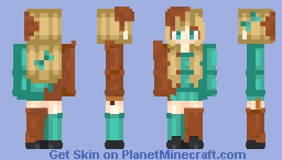 Teal Chocolate Girl Minecraft Skin