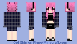 Pink Hair Girl W/ Plaid Outfit Minecraft Skin