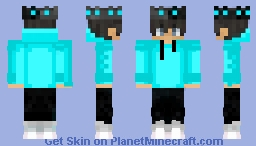 Aqua Sweater With Black and Gray Crown Minecraft Skin