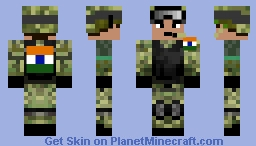 Indian Army Skin with Flag Minecraft Skin