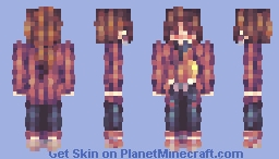 「Night came, and i'm admiring the evening moon alone」 Minecraft Skin