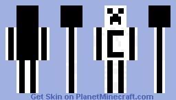 black/white creeper Minecraft Skin