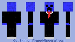 Blue Creeper In A Suit Minecraft Skin