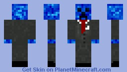 Blue Creeper in suit. Minecraft