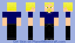 Blue shirt-black jeans-blonde hair-male Minecraft Skin