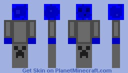 Blue slime in a tracksuit with Creeper pants Minecraft Skin