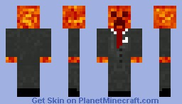 """Burning"" Creeper in suit. Minecraft"