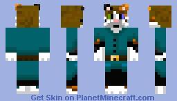 Cat in a tunic (teal) Minecraft Skin
