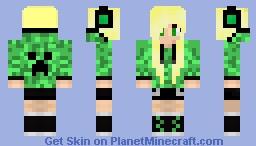 Cute Girl With Creeper Hoodie Redo Minecraft Skin