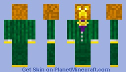 creeper in a green suit with a pumpkin head