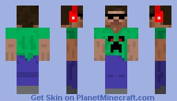 Steve with beats, shades and a creeper shirt Minecraft Skin
