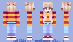 ❀࿔₊°Summer Melodies - Girl | Female | Aesthetic | Jeans | Long hair | Cute | Pretty | Red | Yellow | Blue | Summer Minecraft Skin