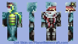 When you're a shark and get possessed by a demon, causing you to go berserk, leading you to die by the hands of a scumbag police-officer, only so you can get resurrected as a cyber-shark... from hell Minecraft Skin